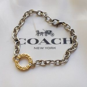 Coach Paved Circle Charm Chain Link Bracelet